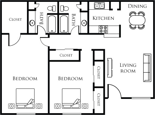 1,030 sq. ft. 22B floor plan
