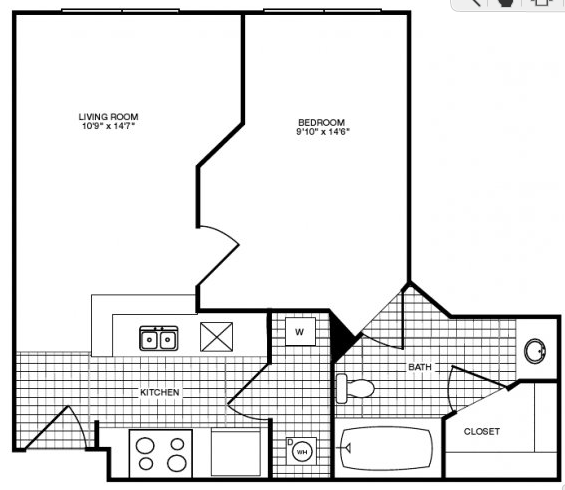 536 sq. ft. floor plan