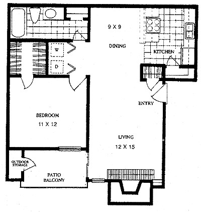 700 sq. ft. BRIDGE floor plan