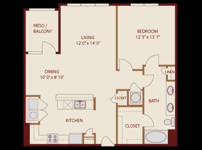 893 sq. ft. Deep Eddy floor plan