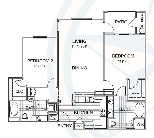 1,202 sq. ft. Little floor plan