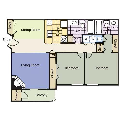991 sq. ft. Preakness floor plan