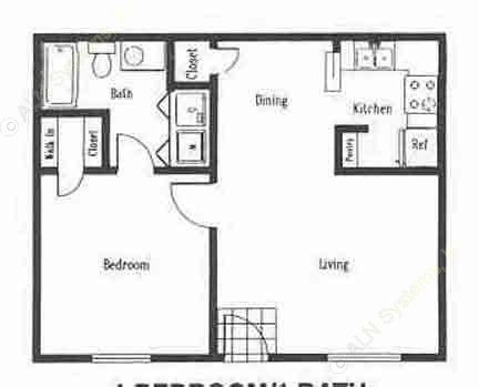 506 sq. ft. A1 floor plan