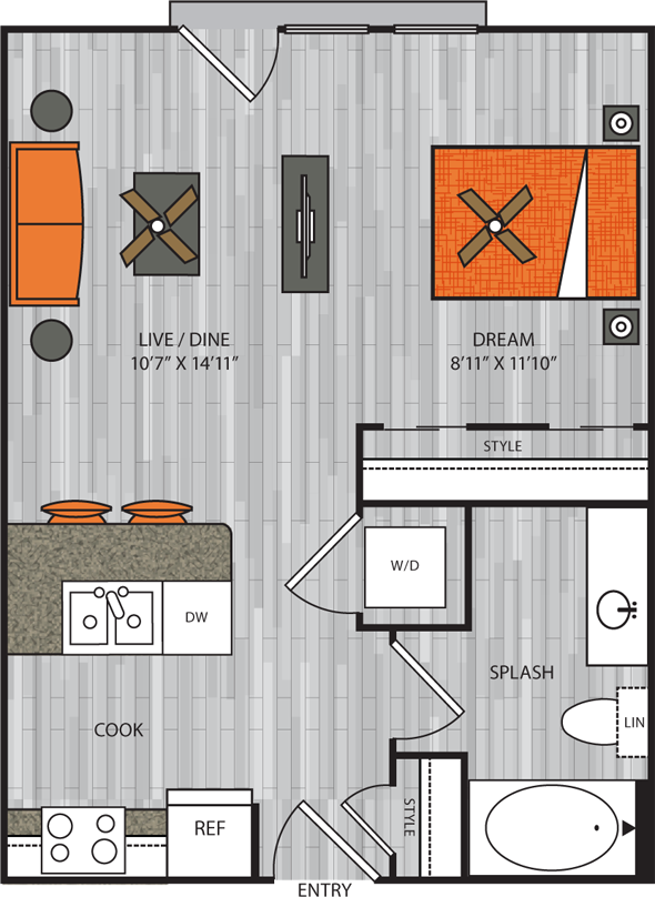 540 sq. ft. S1 floor plan
