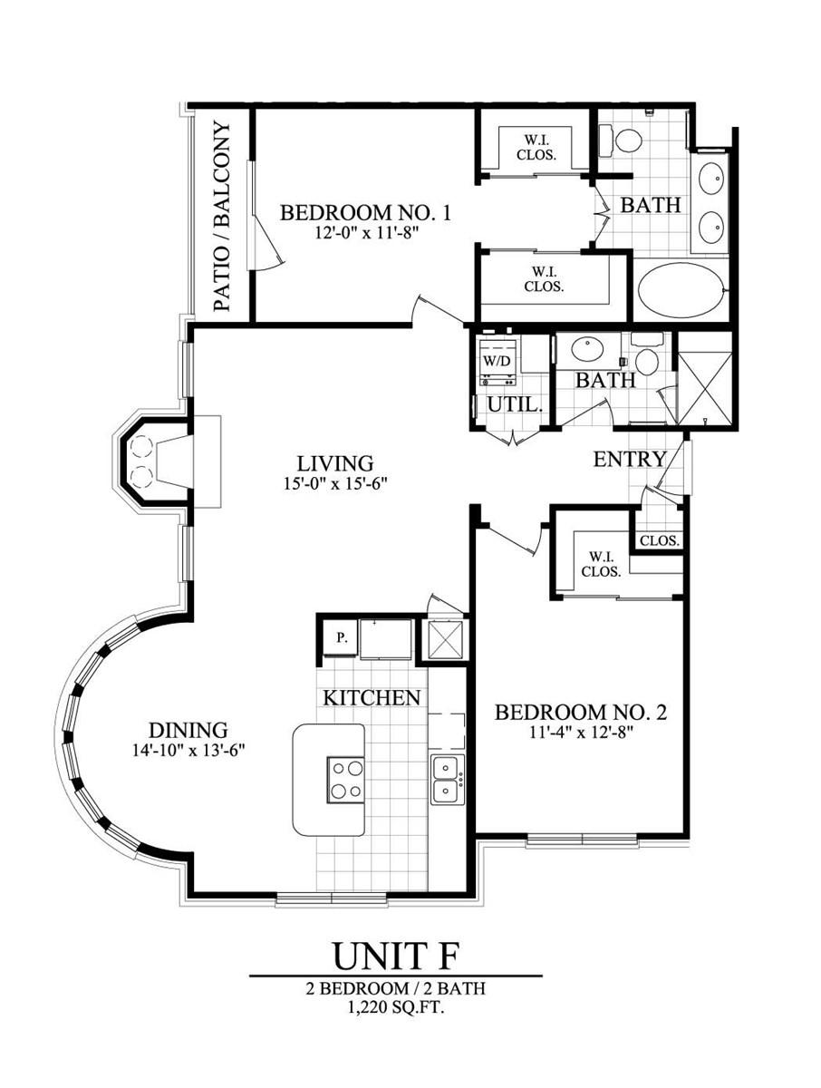 1,220 sq. ft. F floor plan