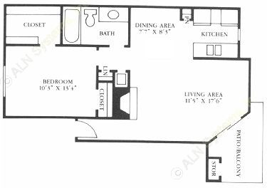 668 sq. ft. A3/A4/A5 floor plan