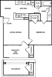 590 sq. ft. Charles floor plan