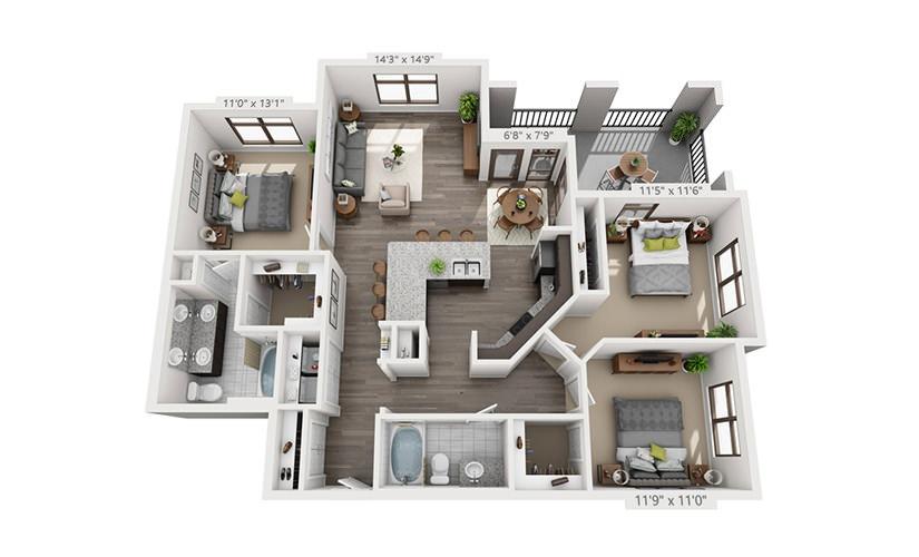 1,346 sq. ft. C1 floor plan