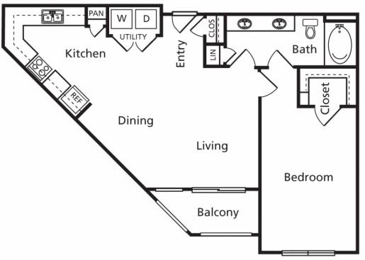813 sq. ft. A4a floor plan
