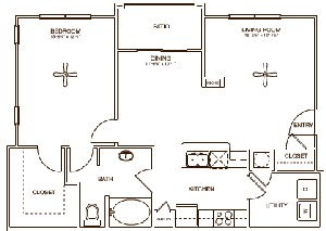 897 sq. ft. CHELL floor plan