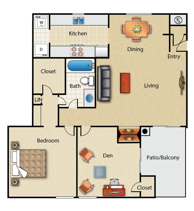 904 sq. ft. 1E floor plan