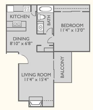 640 sq. ft. A-2 floor plan
