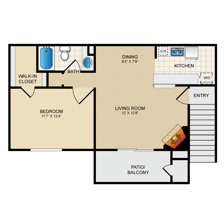 571 sq. ft. A1 floor plan