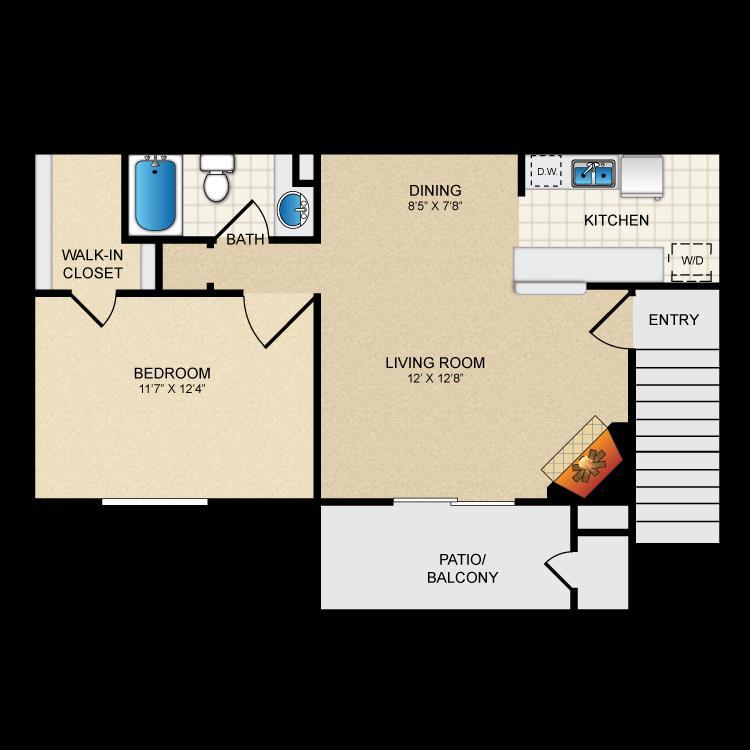 571 sq. ft. A1/Mkt floor plan