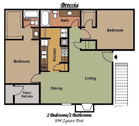994 sq. ft. D floor plan