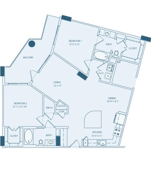 1,234 sq. ft. B2 floor plan