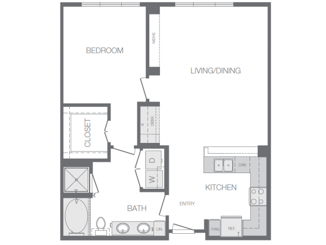 874 sq. ft. to 930 sq. ft. H floor plan