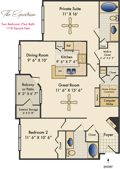 1,118 sq. ft. Equestrian floor plan