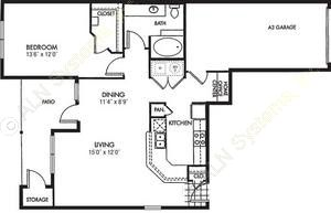 973 sq. ft. Sonata floor plan