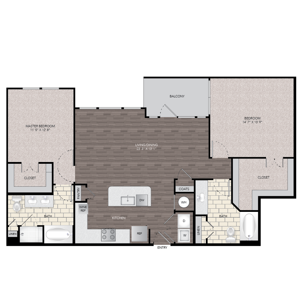 1,316 sq. ft. B2 floor plan