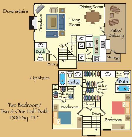 1,300 sq. ft. B3 floor plan