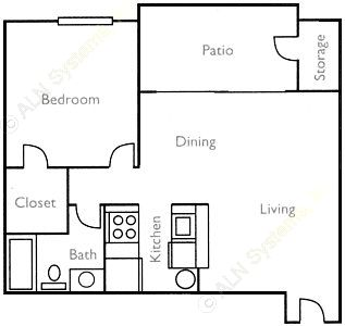 653 sq. ft. Red Maple floor plan