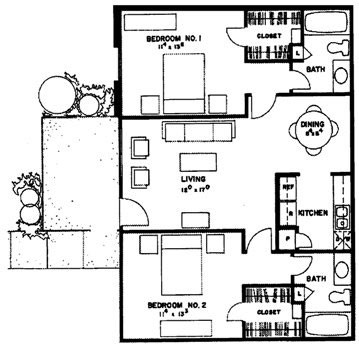 950 sq. ft. Puerto Vallarta floor plan