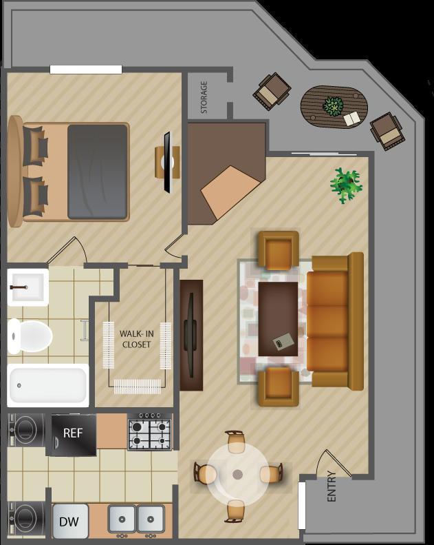 670 sq. ft. Bridge-A5 floor plan