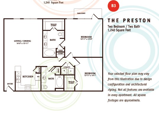 1,240 sq. ft. B3/Preston floor plan