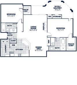 1,278 sq. ft. Drake floor plan