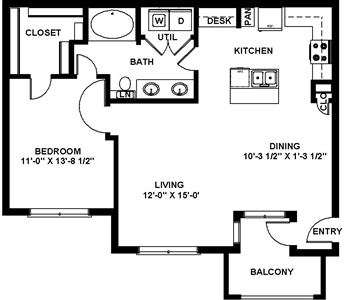 806 sq. ft. A4 floor plan