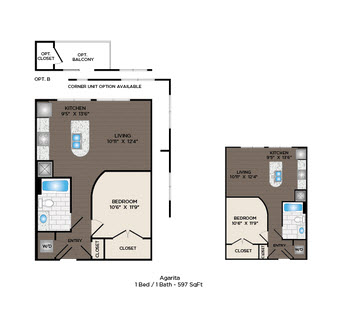 597 sq. ft. Agarita floor plan