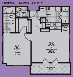 814 sq. ft. to 896 sq. ft. A floor plan