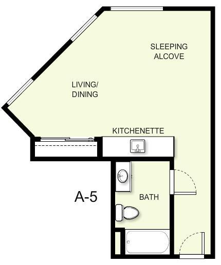 448 sq. ft. A5 floor plan