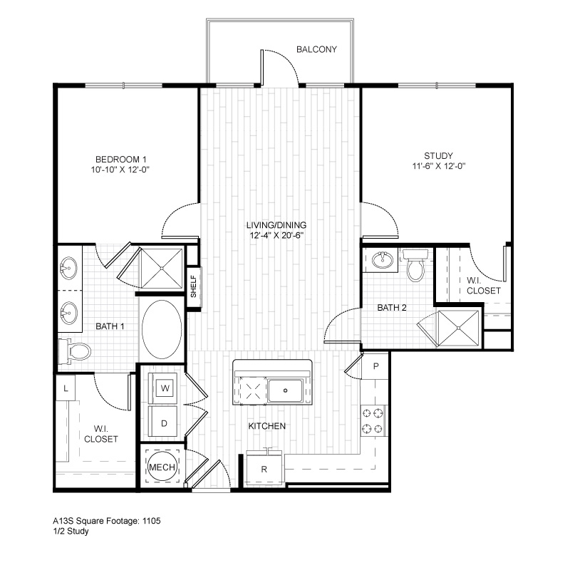 1,105 sq. ft. A13S floor plan