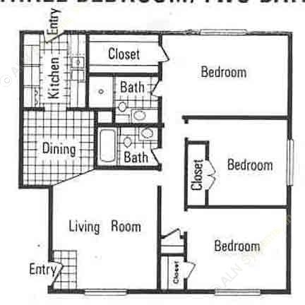 1,191 sq. ft. E floor plan