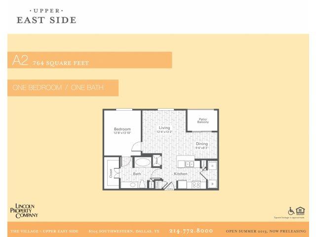 764 sq. ft. A2 floor plan