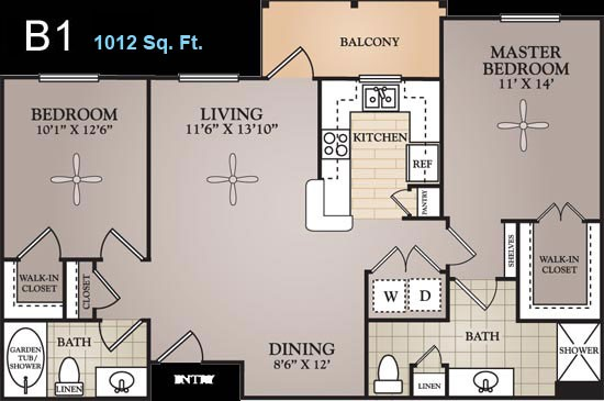 1,012 sq. ft. Monet floor plan