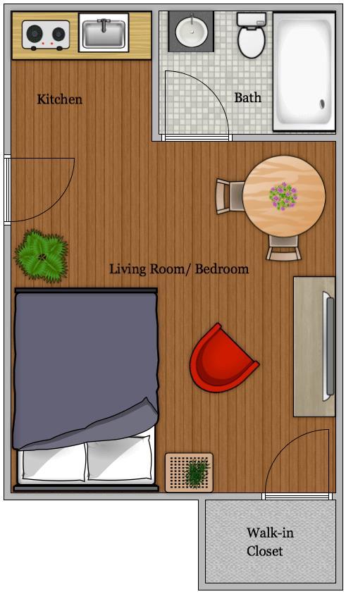 293 sq. ft. EFF floor plan