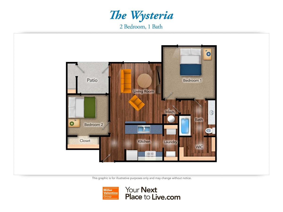 870 sq. ft. Wysteria floor plan
