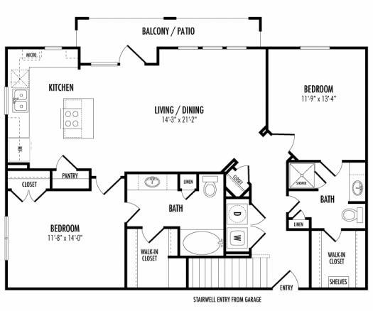 1,199 sq. ft. Rockhampton - B3.1G floor plan