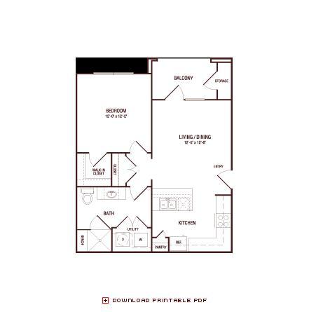 629 sq. ft. White Oak floor plan