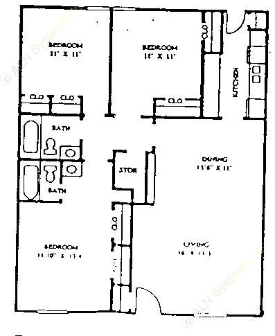 1,240 sq. ft. 60% floor plan