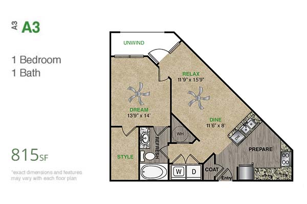 815 sq. ft. A3.1 floor plan