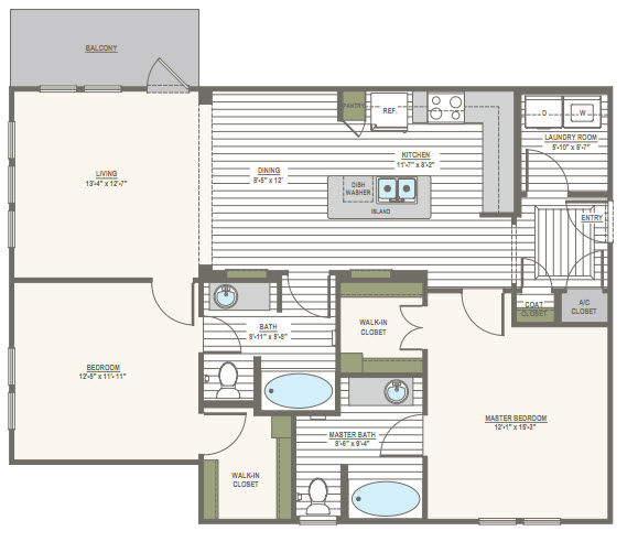 1,150 sq. ft. 2C floor plan