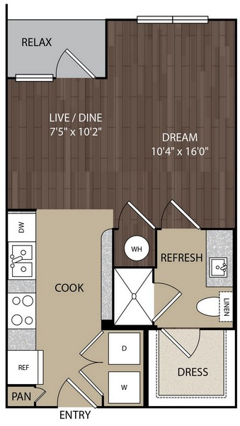 508 sq. ft. S1 floor plan