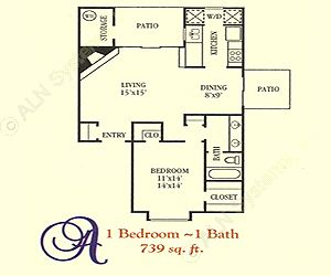 739 sq. ft. A floor plan