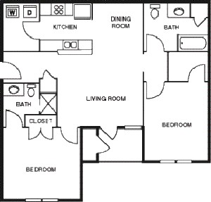 1,007 sq. ft. Pecan/60 floor plan