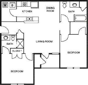 1,007 sq. ft. Pecan/60 floor plan