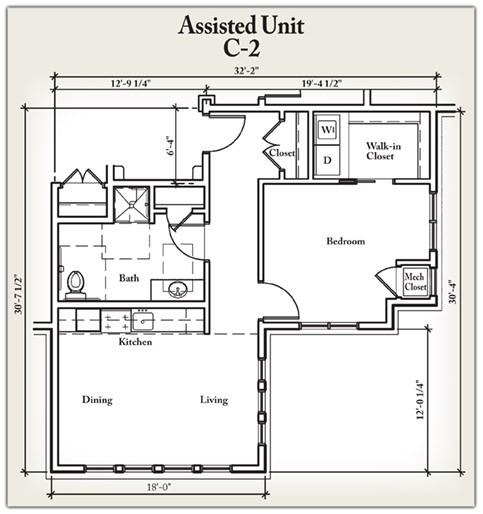 768 sq. ft. C2 floor plan